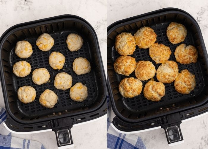Side by side photos of the cheddar biscuits in the air fryer basket. One side is showing them before cooking and the other side is after they have cooked.