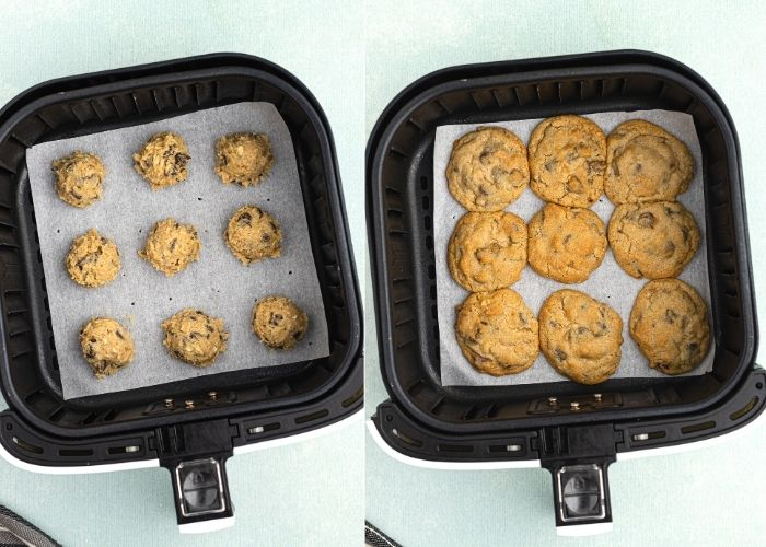 Chocolate chip cookie dough in an air fryer basket, side by side photos before and after cooking.
