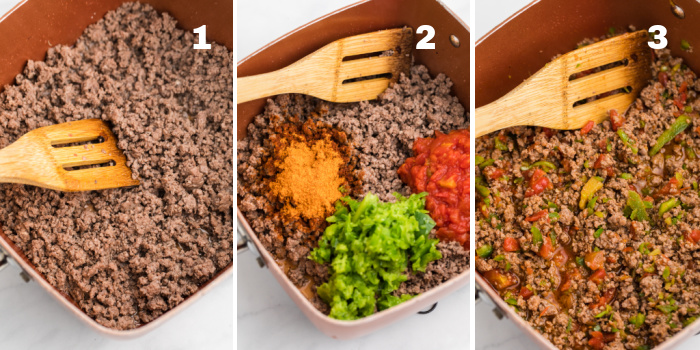 Step collage of photos showing meat being browned in a skillet, seasoning and vegetables being added to the meat, and finally the taco casserole meat mixture in the skillet.
