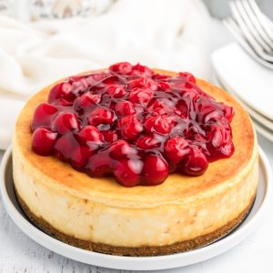 Classic Air Fryer cheesecake with cherry topping.