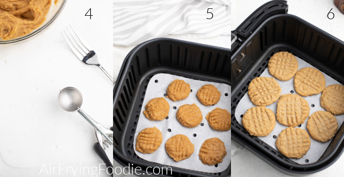 Collage of photos showing the cookie scoop, cookie dough with fork mash marks, and cooked cookies in the Air Fryer basket.