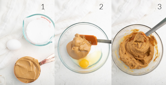 Collage photo of peanut butter, sugar, and egg being mixed in a bowl.