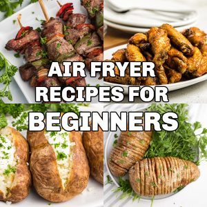 Collage of photos for Air Fryer Recipes for beginners