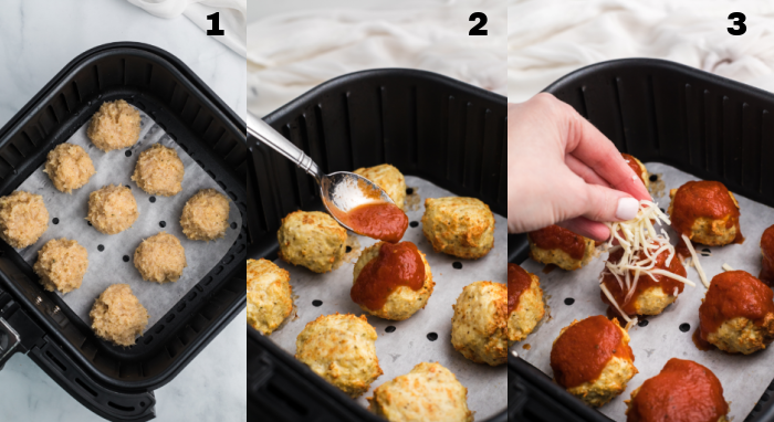 Steps showing chicken parmesan meatballs rolled, cooked halfway and topped with marinara, and topping with cheese in an Air Fryer basket.