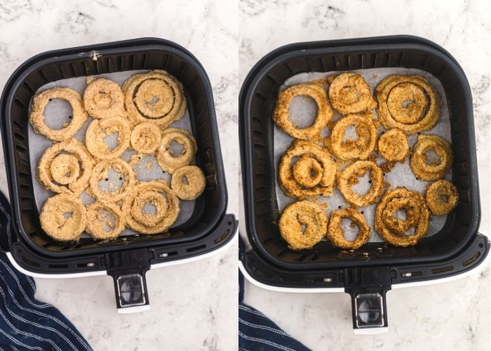 Air fryer onion rings side by side in the air fryer basket. Left side is before cooking and right side is after cooking. Golden and crispy.