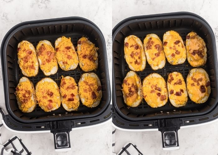Potato skins side by side, before and after cooking with cheese and bacon crumbles on top. After cooking, cheese is melted.