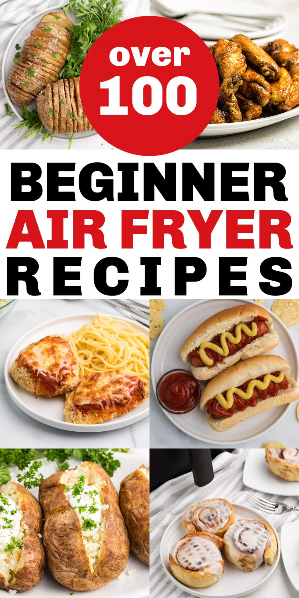 pinnable collage of photos for over 100 beginner air fryer recipes.
