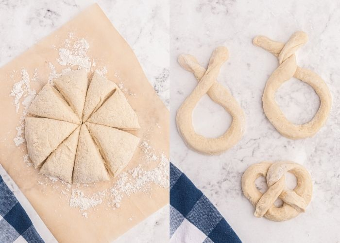 Side by side photos showing the dough cut into eight pieces, and then rolled and twisted into pretzel shapes.