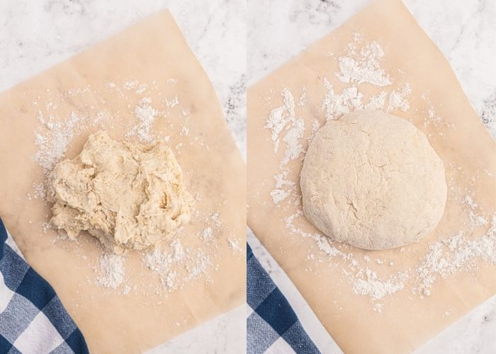 Side by side photo showing the dough flaky, and then after kneading, it is soft and shaped into a round ball of dough.