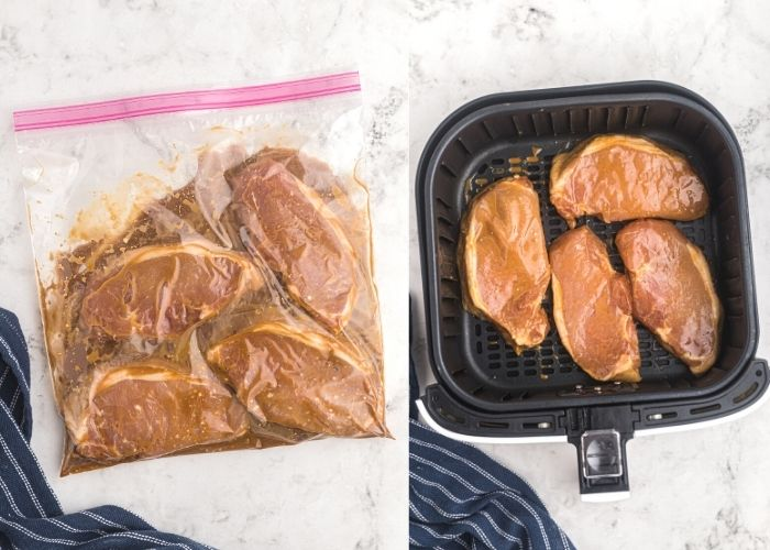 Pork chops in a ziploc bag, sealed and marinating in juices, next to the pork chops shown in the air fryer basket before cooking.