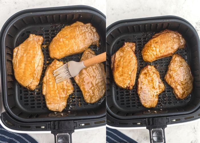 Pork chops in the air fryer basket, being brushed with the marinade and then after cooking.