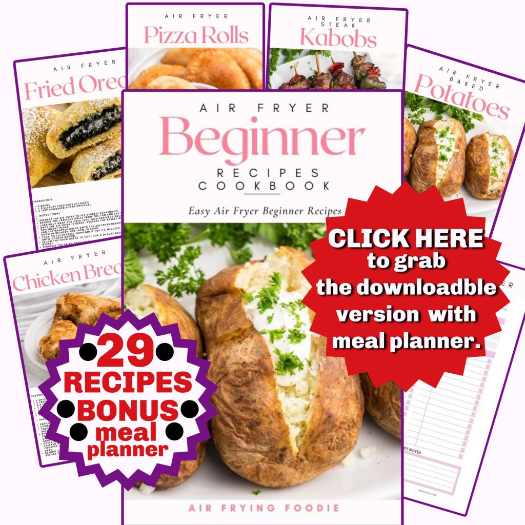 Air Fryer Beginner Recipes Cookbook photo with example recipes within the cookbook.