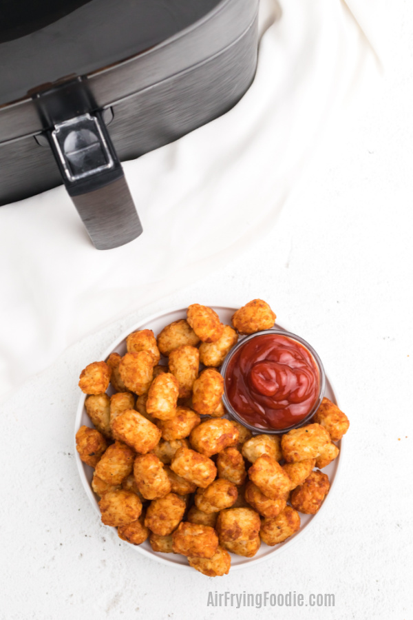 Tater Tots on a white plate with a small bowl of ketchup and an air fryer in the background.