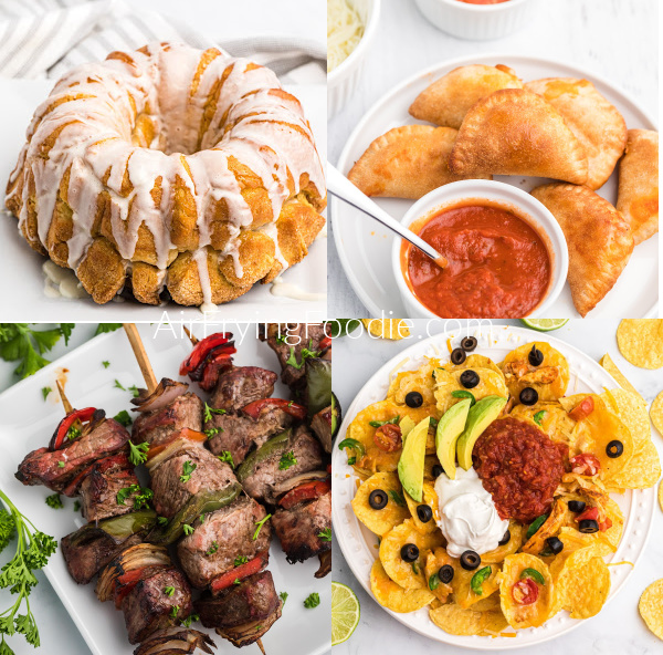 COllage of appetizers made in the Air Fryer: monkey bread, pizza rolls, steak kabobs, and loaded nachos.