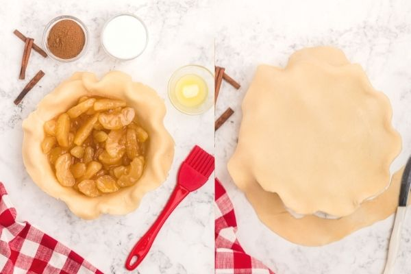 Side by side photos showing steps of filling a pie crust, and then topping the pie and trimming the edges of the crust.