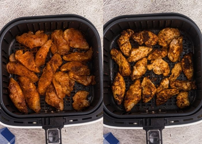 Side by side photos of seasoned chicken tenders showing them in the air fryer basket before and after cooking.