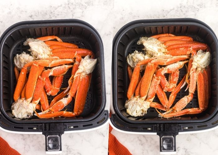 Crab legs in the air fryer basket, before and after being cooked.