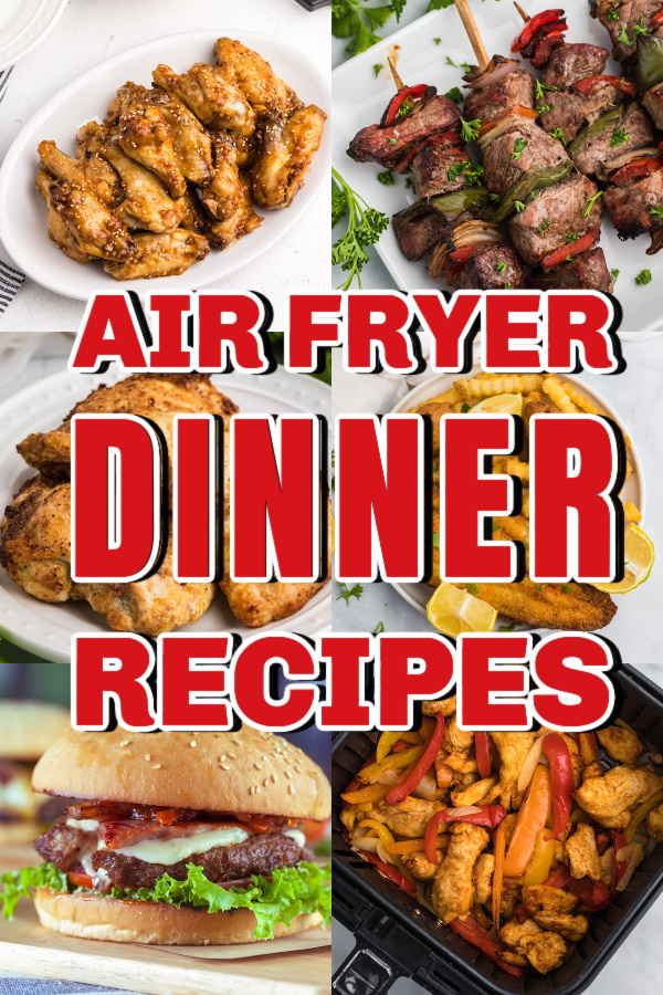 Collage of photos of Air Fryer Dinner Recipes that can all be made quick and easy in the Air Fryer.