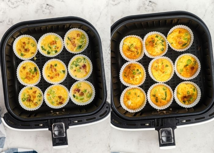 Egg mixture poured into white silicone baking cups. Before and after being cooked in the air fryer basket.