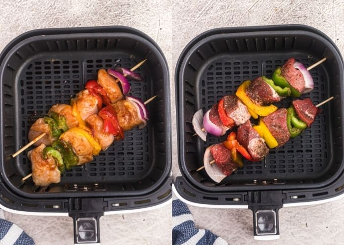 Side by side photos of chicken and steak kabobs, before they are cooked in an air fryer basket.