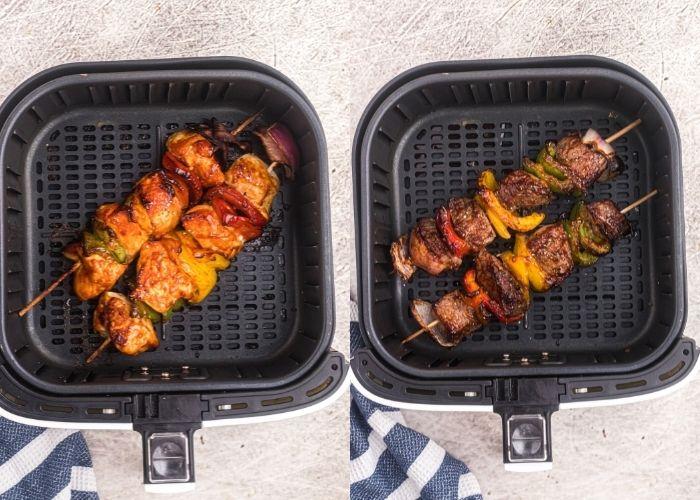 Side by side photo of juicy cooked chicken and steak kabobs on skewers in air fryer basket.