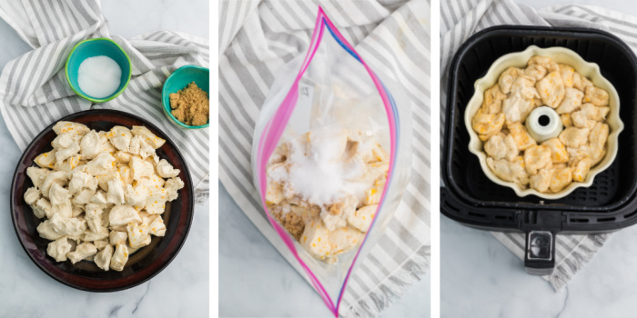 Collage of photos with the first few steps to make monkey bread in the Air Fryer.