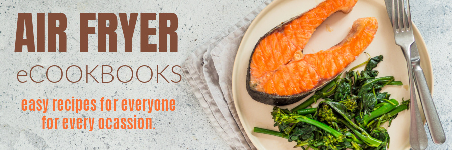 Air Fryer eCookbooks photo with salmon and greens on a plate ready to eat.