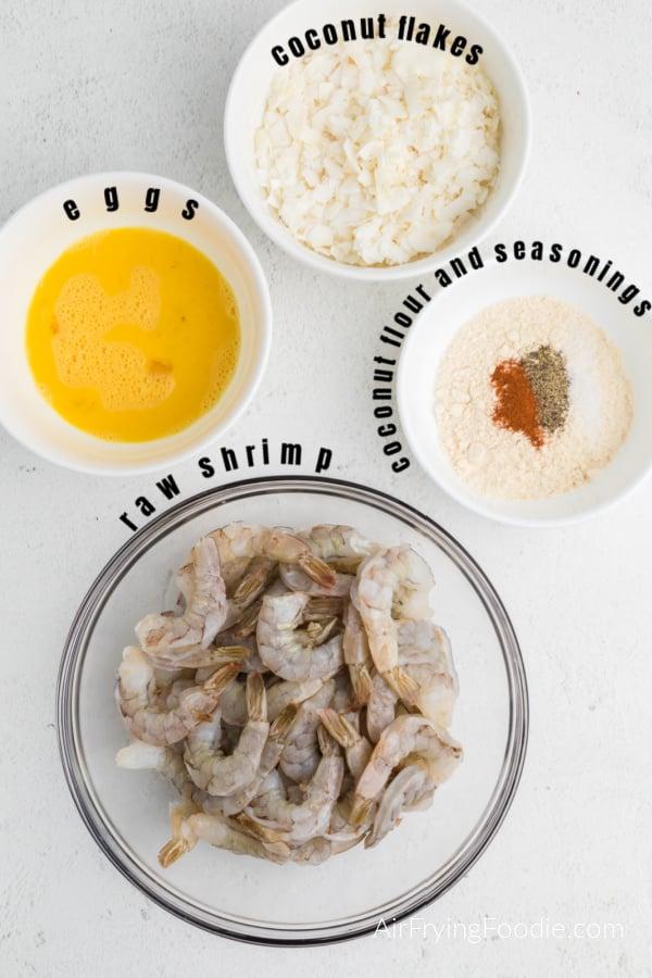 Ingredients needed to make keto coconut shrimp
