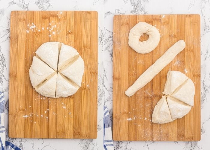 Dough   formed into a circle and cut into 6 pieces on a cutting board, and then rolled and shaped into a circle bagel.