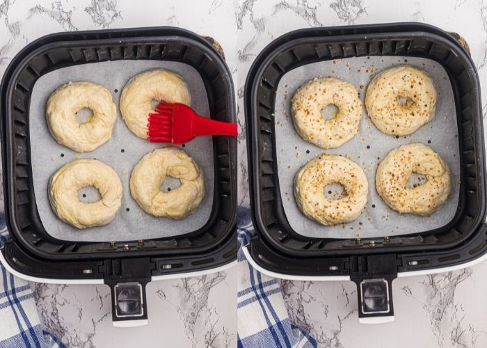 Uncooked bagels in the air fryer basked, side by side photos. Left side showing bagels being brushed with egg wash, and right side shows them seasoned with bagel seasoning.