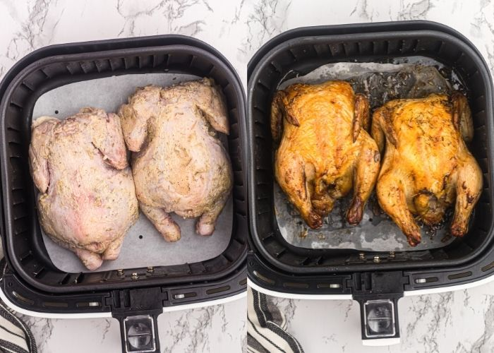 Side by side photos of small hens in the air fryer basket, showing before and after cooking. Before photo has herbed butter coating and after photo shows hens golden and crispy.