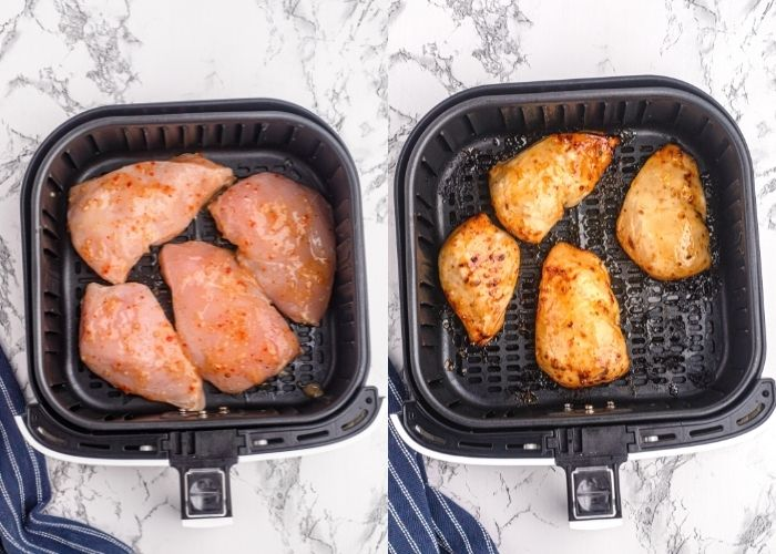 Side by side photos of the chicken in the air fryer basket, before and after being cooked with the marinade and glaze applied.