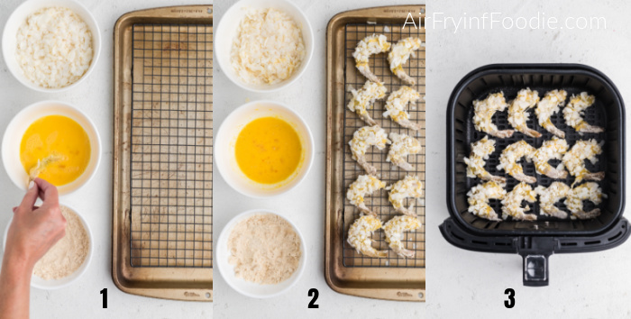 Steps to make keto coconut shrimp in the air fryer.