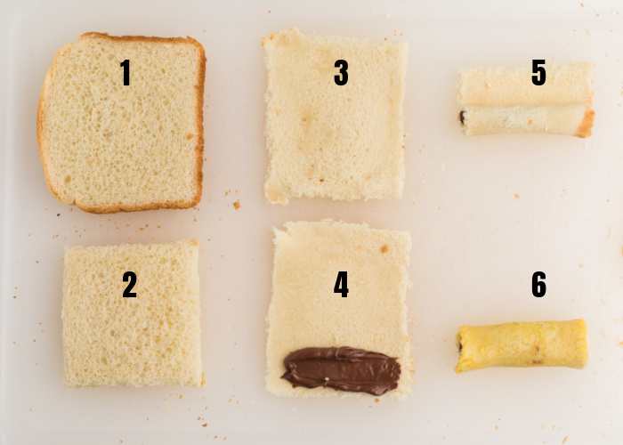 Numbered Steps to make Nutella stuffed french toast roll ups in the Air Fryer.