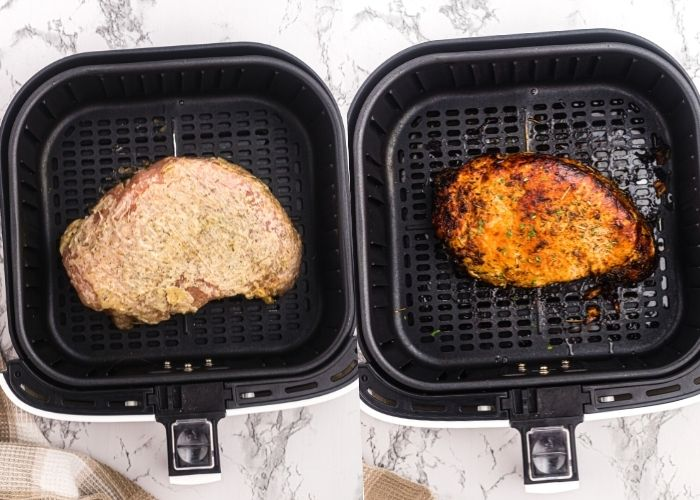 Side by side photos of turkey breast in the air fryer basket. Covered with herbed butter and crispy and golden after being cooked.
