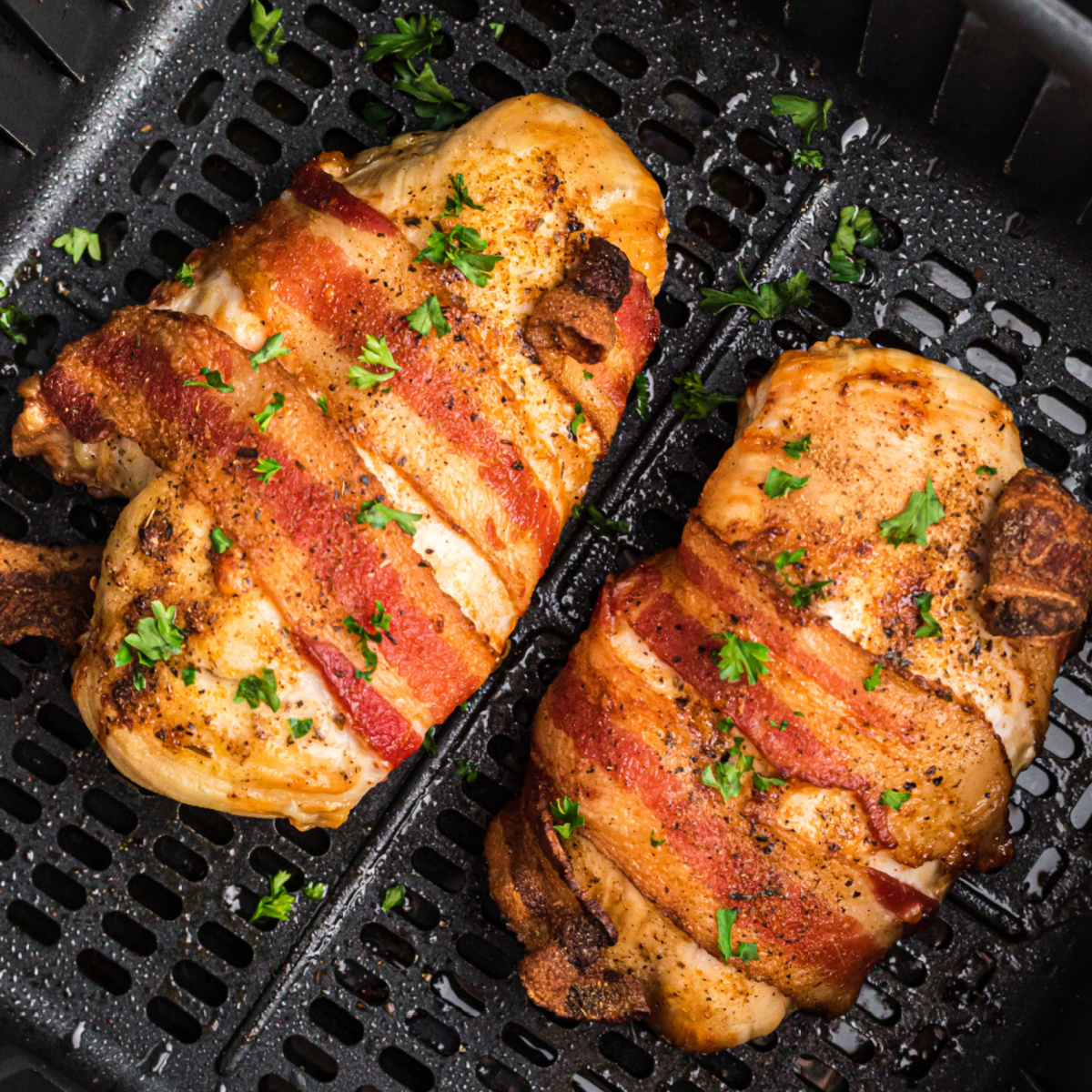 bacon wrapped chicken breasts in the air fryer basket