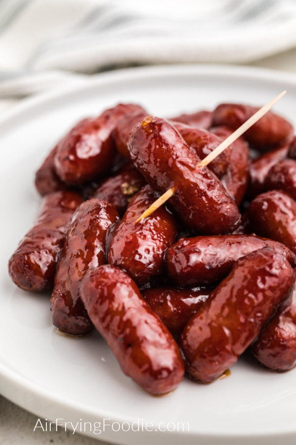 Air Fried BBQ Little Smokies in a white plate ready to serve.