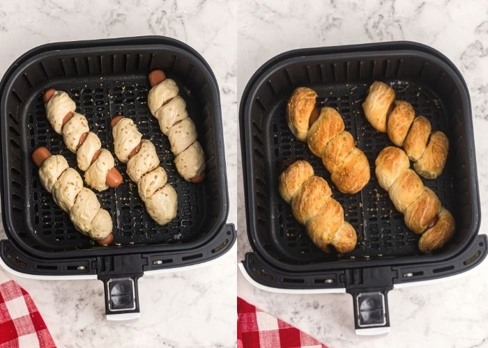 Before and after cooking photos of pretzel dogs in an air fryer basket.