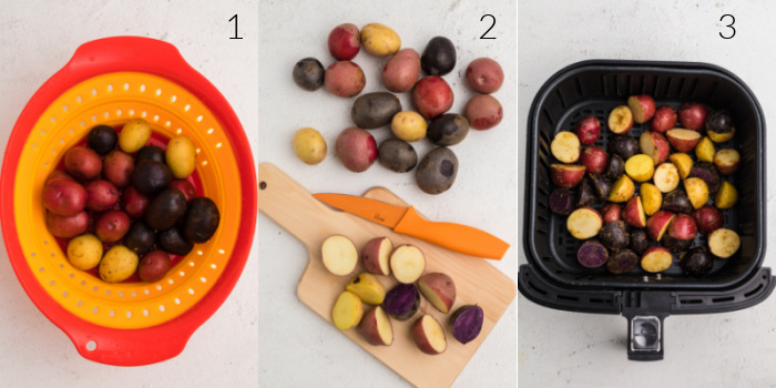 Steps on how to make air fryer roasted potatoes.