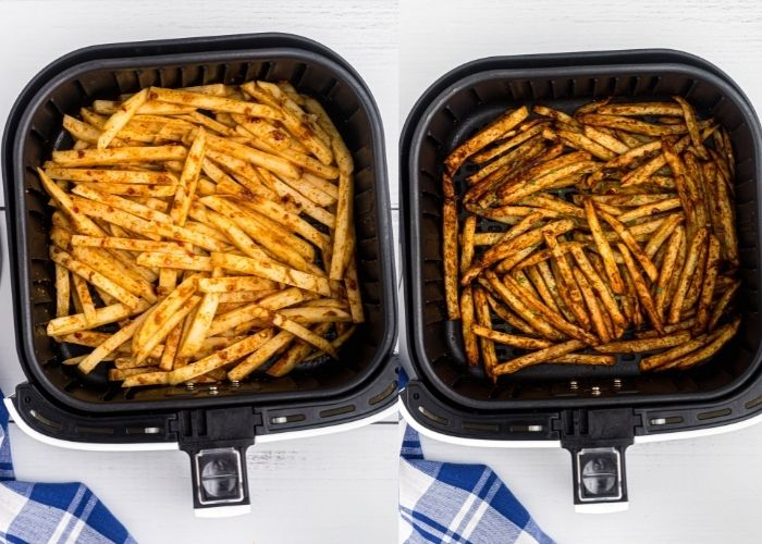 Side by side photo of seasoned fries before and after they are cooked in an air fryer basket.