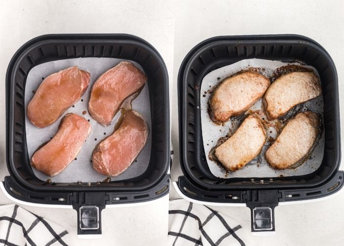Side by side photos showing glazed pork chops before and after being cooked in the air fryer basket.