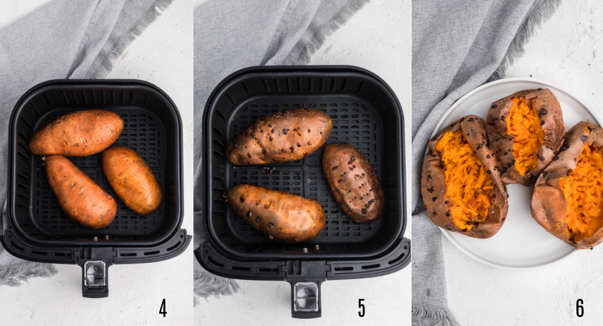 Set of photos showing the steps to finish making sweet potatoes in teh air fryer.