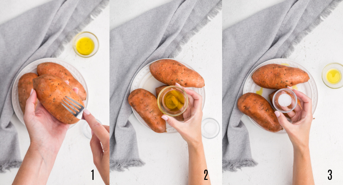 Process steps to prepare sweet potatoes before baking them in the air fryer.