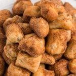close up of cinnamon sugar air fryer pretzel bites