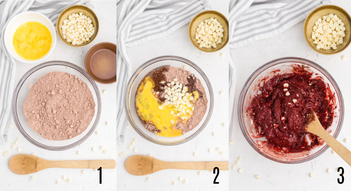 Process photos to make red velvet cake mix cookies in the air fryer.