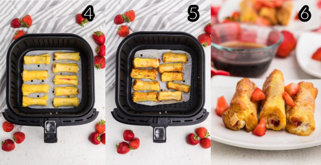 Process shots for making strawberry french toast roll ups in the air fryer.