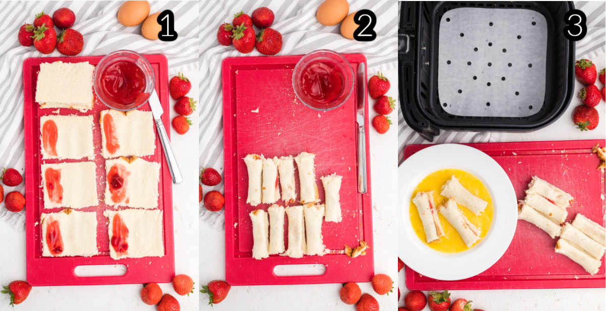 Process of making french toast roll ups in the air fryer.