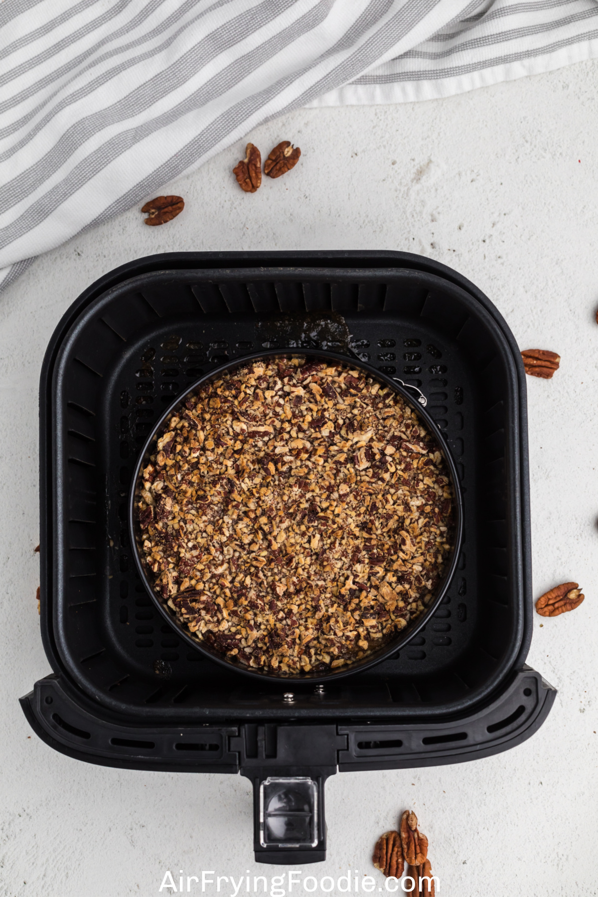 cooked sweet potato casserole in the air fryer basket