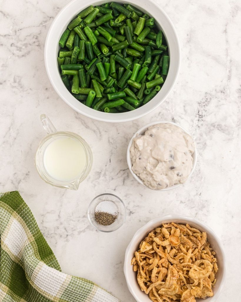 Ingredients needed to make green bean casserole in the air fryer.