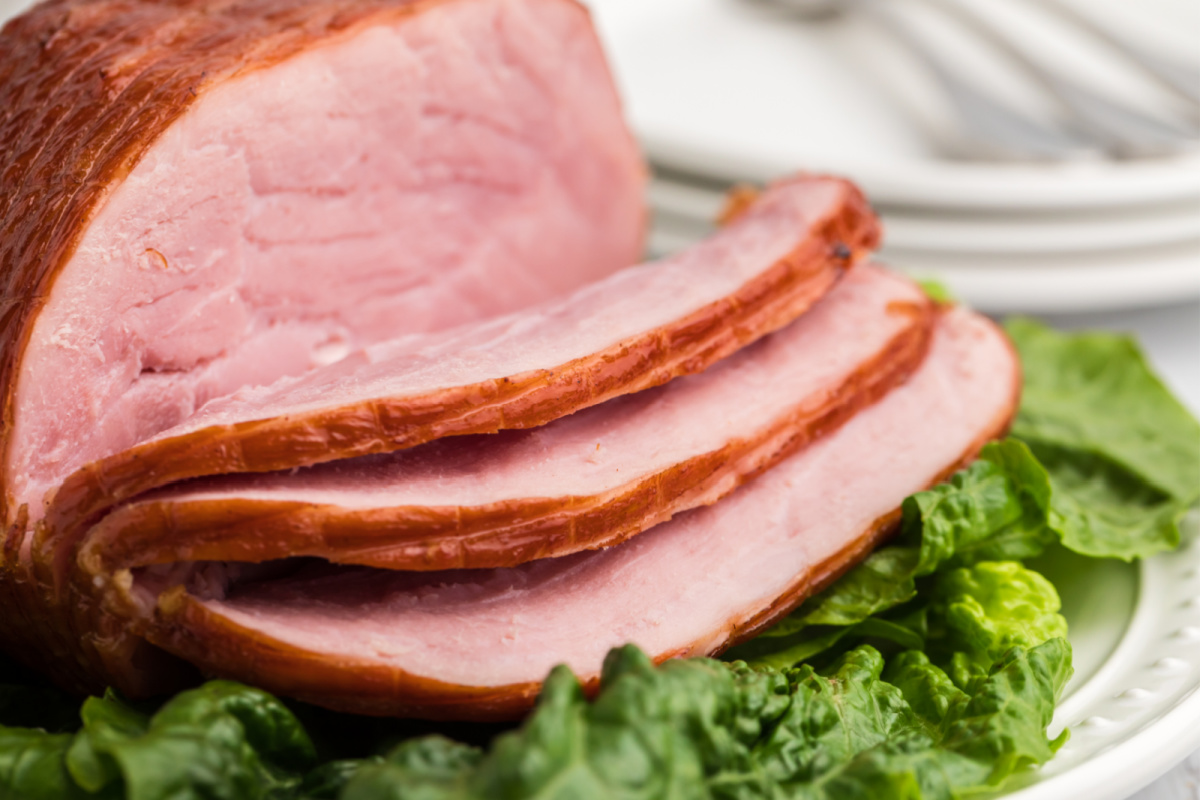 Close up photo of air fryer ham sliced and ready to serve.